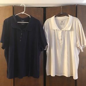 2 for 1:  4XL White and Navy polos shirts!